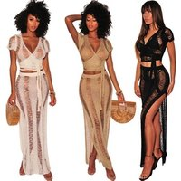 fancy women two pieces sexy crochet transparent beach cover up split long maxi knitted beach dress