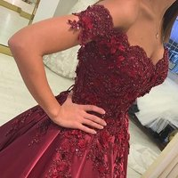 Latest Elegant Satin Flowers and Beadings Ball Gown Off Shoulder Long Prom Evening Dress