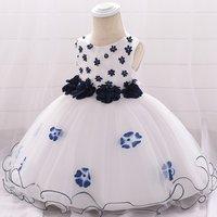 Latest Children Short Dress Design Flower Print Tulle Satin Baby Girls Frocks Birthday Party Wedding Prom Dresses L1895XZ