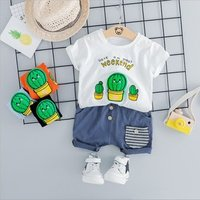 Summer new childrens short-sleeved T-shirt suit boys and girls short-sleeved shorts 2 sets of small childrens clothing