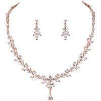 Rose Gold Plated Cubic Zirconia Necklace and Earring Bridal Wedding Jewelry Set