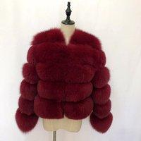 Women Artificial Fur Outwear Faux Fox Fur Jacket fox  Fur Coat