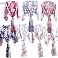 Women silk floral robe Kimono floral robes