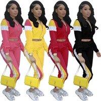 2019 trendy Popular Style Patchwork Crop Top zIPPER Full Sleeve two piece set women clothing Long Sleeve Sport jumpsuit