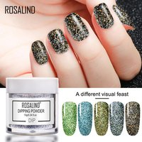 Rosalind private label 12 colors acrylic dip powder gel dipping powder nails system set quick drying glitter nail dipping powder
