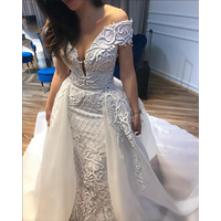 Luxury Muslim Bridal Dress 2019 Bridal Gown Robe de mariage Mermaid Bridal Dresses with Detachable Train African Wedding Dresses
