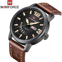 NAVIFORCE 9143 Watch New Luxury Brand 9143 Fashion Men Watches Genuine Leather Quartz Waterproof Watches Men Wrist