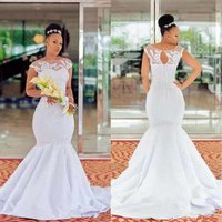 ZH1588Q Cap Sleeve Lace Sheer Neck Plus Size Mermaid Wedding Dresses Appliques Sweep Train South African Bridal Gowns 2019