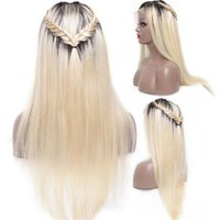 Top Quality Blonde Human Hair Lace Front Wig  Ombre Colo Blonde#613 With Black Dark Root, 100% Virgin Hair Human Hair Wigs