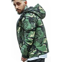 New mens cotton padded hooded camouflage coat winter  quilt jacket