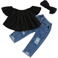 2019 summer girl suit  ruffled top hollow jeans  children clothes