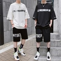 2019 summer new trend mens short-sleeved t-shirt suit Korean casual sports five-pants two-piece mens clothing