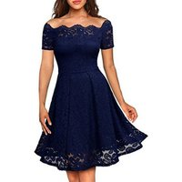Women fashion summer Sexy lace off-the-shoulder dress with short sleeves