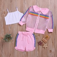 Summer new girls suit chilrdens rainbow sun protection clothing and shorts