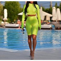 Fitness two piece biker shorts and crop top set women short sleeve tracksuit bodycon neon color short pants