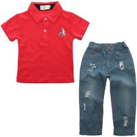 Baby Boys Summer Clothes Newborn Children Boys Summer Clothing Sets For Boy Short Sleeve Shirts + Jeans Cool Denim Pants Suit