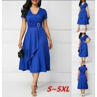 summer new design irregular plus size milk silk fashion lady dress