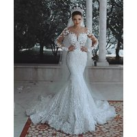 Illusive Mermaid Wedding Dresses Full Sleeve Backless Lace Bridal Gown