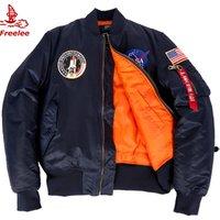 Wholesale thick winter apollo patched navy men nasa bomber flight jacket