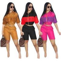 MSG9100 New Arrivals Women Zipper Up Short Sleeve Crop Jacket Short Pants 2 Pieces
