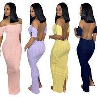 2019 hot sell SC8320 fashion solid backless long maxi bandage bodycon lady dress