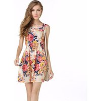 Ecowalson Summer Floral Print Women Chiffon Dress Elastic Waist Female Tunic Girl Casual Beach Dresses