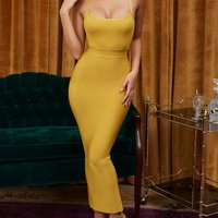 Backless bandage sleeveless long dress women