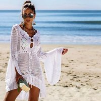 2019 Crochet White Knitted Beach Cover up dress Tunic Long Bikinis Cover ups Swim Cover up Robe Plage Beachwear