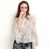 Floral top women sexy transparent chiffon blouse