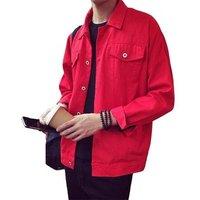 9089 Men Red Denim Jacket,Short Jean Jacket,Blank Denim Jacket