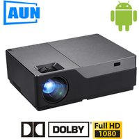 AUN Projector Android Full HD M18UP, 1920x1080P Resolution. M18 Android Projector 3D Support 4K Home Theater WIFI Bluetooth Sale