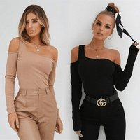 Wholesale Tight Long Sleeve Cotton Fashion Womens Sexy Ladies Short Tops Pullover Girls Cardigan Knit One Shoulder Crop Sweater