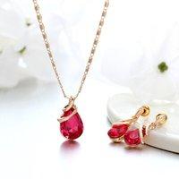 New tear drop zircon earrings necklace set austrian water drop crystal jewelry sets