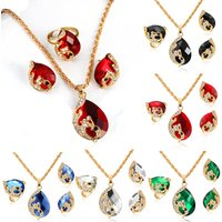 Fashion Gold Color Peacock Shape Crystal Pendant Jewelry Set for Women Wedding Necklace Earrings Adjustable Rings Sets