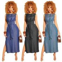 Wholesale 2019 Sexy Lace Up Tie Split Side Bodycon Denim Romper Woman Maxi Denim Dress