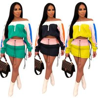 SALD8300 patchwork candy color ruffled sexy crop top and mini skirt two pieces women dress set