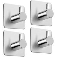 'Adhesive Hooks Wall Hooks Hangers Bathroom Office Stick On Hooks For Hanging Bathroom Home Kitchen Stainless Steel-4 Packs