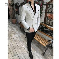 Summer Double Breasted Peaked Lapel Coat Pant  Men Suit WF593