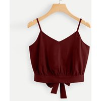 Casual Summer V Neck Camisole Women Bow Tie Back Soild Crop Cami Top Blouse