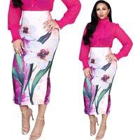 New summer casual flower print Mid-Calf pencil skirt