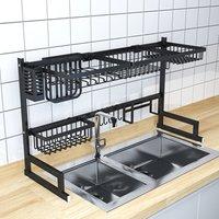 Stainless Steel Over Sink with Black Kitchen Organizer Dish Drainer Rack