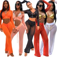 SACM108 mesh gauze transparent beach wear hooded short jacket and wide leg pants summer sexy 2 piece women clothing set