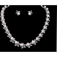 Rhodium Silver Plated Shell Pearl and Cubic Zirconia Crystal Necklace and Earring Bridal Wedding Jewelry Set