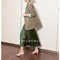 2019Ladies twill and plaid green checked color and design Women formal Blazer Suit office lady Blazer For Women jacket coat