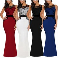 Womens Fashion Fish Tail Maxi Formal Party Prom Dresses Womens Sexy Sleeveless Long Lace Evening Dress 2019