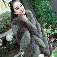 Fur wholesale new faux fur color matching slim long coat fox fur jacket