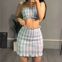 Casual Clubwear Party Crop Top Wrap Skirts For Women Slash Neck Bandage Skirt two piece set women clothing