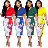 SAX9101 bow tie decoration patchwork designs short sleeve sexy women formal office pencil dress