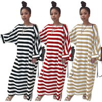 New Arrivals Fashion Women Casual Batwing Sleeve Dress Ladies Stripe Print Patchwork Loose T-Shirt Long Dress 2019