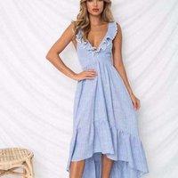 Wholesale 2019 new design ladys deep V cotton linen casual dress backless ruffles stripe bandage skirt ropa mujer dress